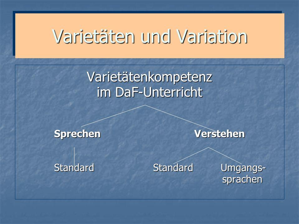 Varietäten und Variation Varietätenkompetenz im DaF-Unterricht Sprechen Verstehen Sprechen Verstehen Standard Standard Umgangs- Standard Standard Umga