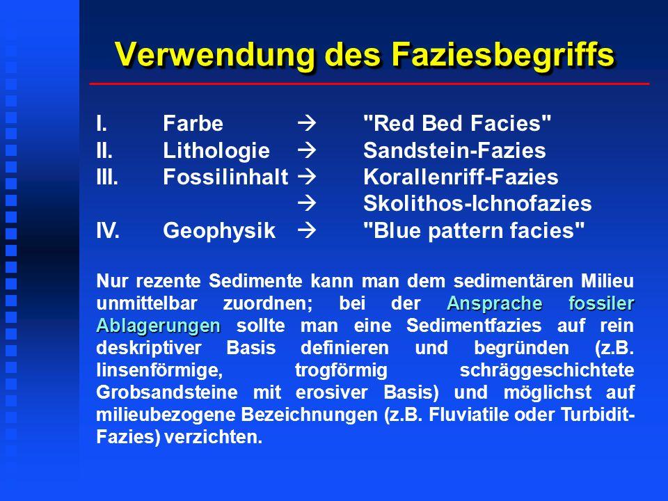 Verwendung des Faziesbegriffs I.Farbe Red Bed Facies II.Lithologie Sandstein-Fazies III.Fossilinhalt Korallenriff-Fazies Skolithos-Ichnofazies IV.Geophysik Blue pattern facies Ansprache fossiler Ablagerungen Nur rezente Sedimente kann man dem sedimentären Milieu unmittelbar zuordnen; bei der Ansprache fossiler Ablagerungen sollte man eine Sedimentfazies auf rein deskriptiver Basis definieren und begründen (z.B.