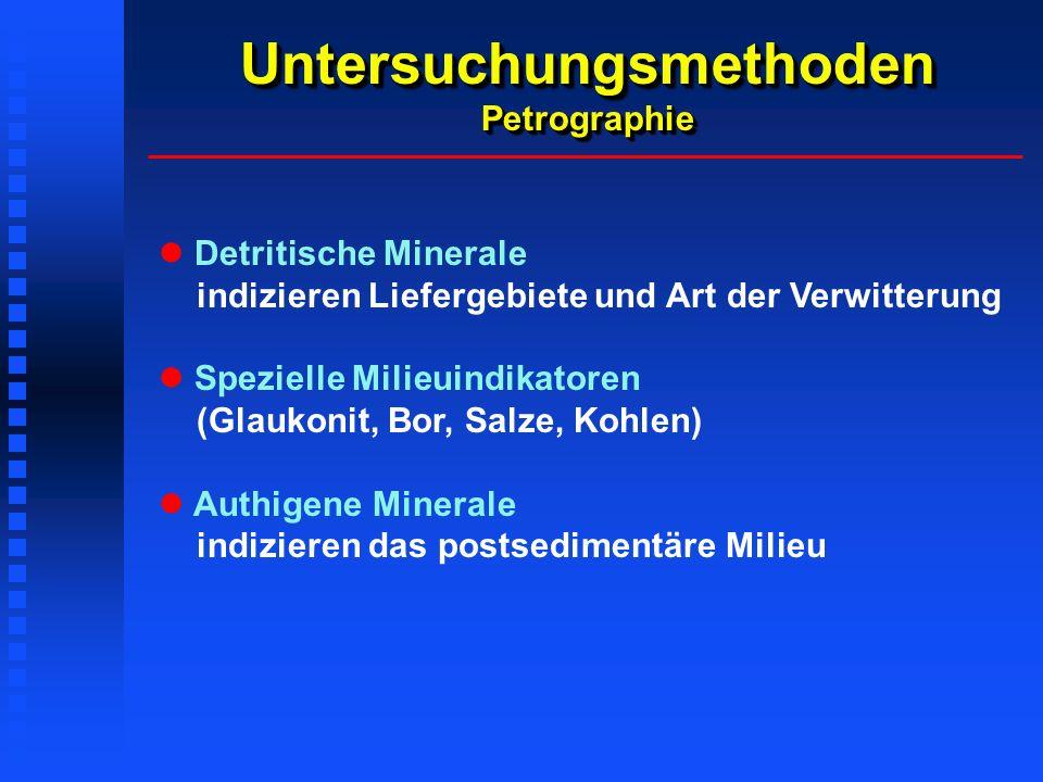 Untersuchungsmethoden Petrographie Detritische Minerale indizieren Liefergebiete und Art der Verwitterung Spezielle Milieuindikatoren (Glaukonit, Bor, Salze, Kohlen) Authigene Minerale indizieren das postsedimentäre Milieu