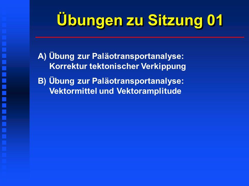Übungen zu Sitzung 01 A) Übung zur Paläotransportanalyse: Korrektur tektonischer Verkippung B) Übung zur Paläotransportanalyse: Vektormittel und Vektoramplitude