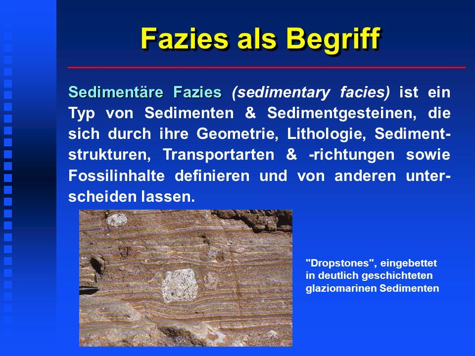 Fazies als Begriff Sedimentäre Fazies Sedimentäre Fazies (sedimentary facies) ist ein Typ von Sedimenten & Sedimentgesteinen, die sich durch ihre Geometrie, Lithologie, Sediment- strukturen, Transportarten & -richtungen sowie Fossilinhalte definieren und von anderen unter- scheiden lassen.