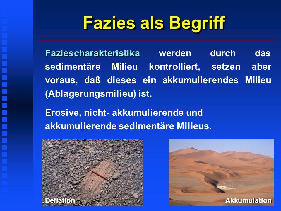 Fazies als Begriff Faziescharakteristika Faziescharakteristika werden durch das sedimentäre Milieu kontrolliert, setzen aber voraus, daß dieses ein akkumulierendes Milieu (Ablagerungsmilieu) ist.