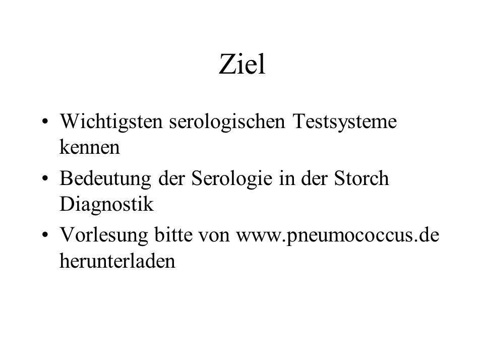 Ziel Wichtigsten serologischen Testsysteme kennen Bedeutung der Serologie in der Storch Diagnostik Vorlesung bitte von www.pneumococcus.de herunterlad