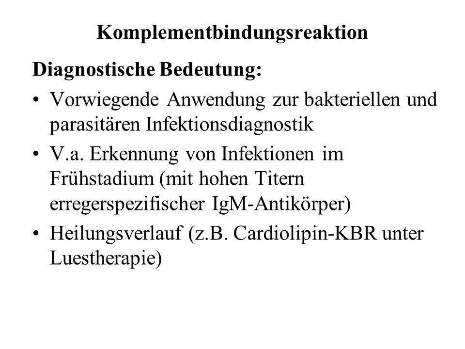 Komplementbindungsreaktion Diagnostische Bedeutung: Vorwiegende Anwendung zur bakteriellen und parasitären Infektionsdiagnostik V.a. Erkennung von Inf