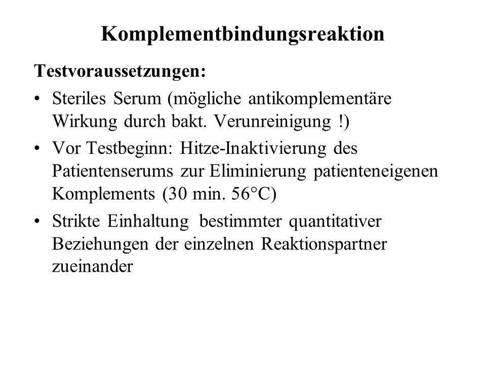 Komplementbindungsreaktion Testvoraussetzungen: Steriles Serum (mögliche antikomplementäre Wirkung durch bakt. Verunreinigung !) Vor Testbeginn: Hitze