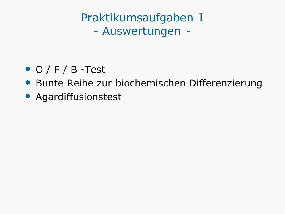 Praktikumsaufgaben I - Auswertungen - O / F / B -Test Bunte Reihe zur biochemischen Differenzierung Agardiffusionstest