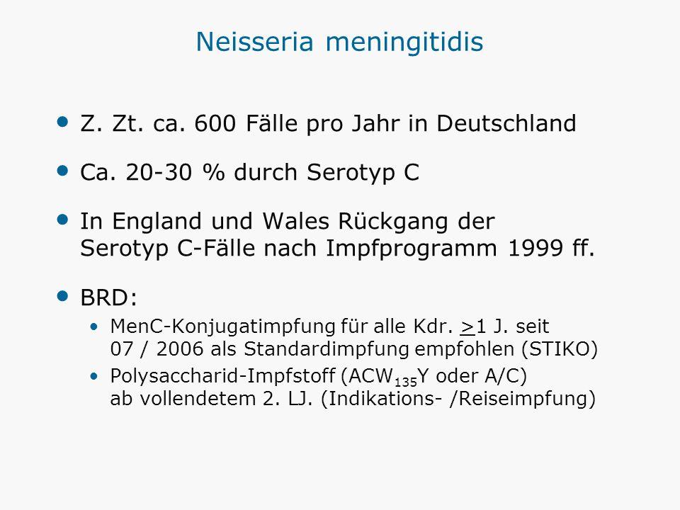Neisseria meningitidis Z. Zt. ca. 600 Fälle pro Jahr in Deutschland Ca. 20-30 % durch Serotyp C In England und Wales Rückgang der Serotyp C-Fälle nach