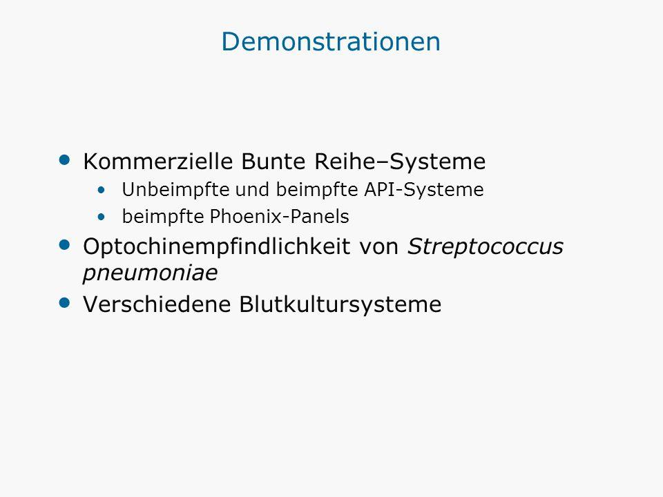 Demonstrationen Kommerzielle Bunte Reihe–Systeme Unbeimpfte und beimpfte API-Systeme beimpfte Phoenix-Panels Optochinempfindlichkeit von Streptococcus