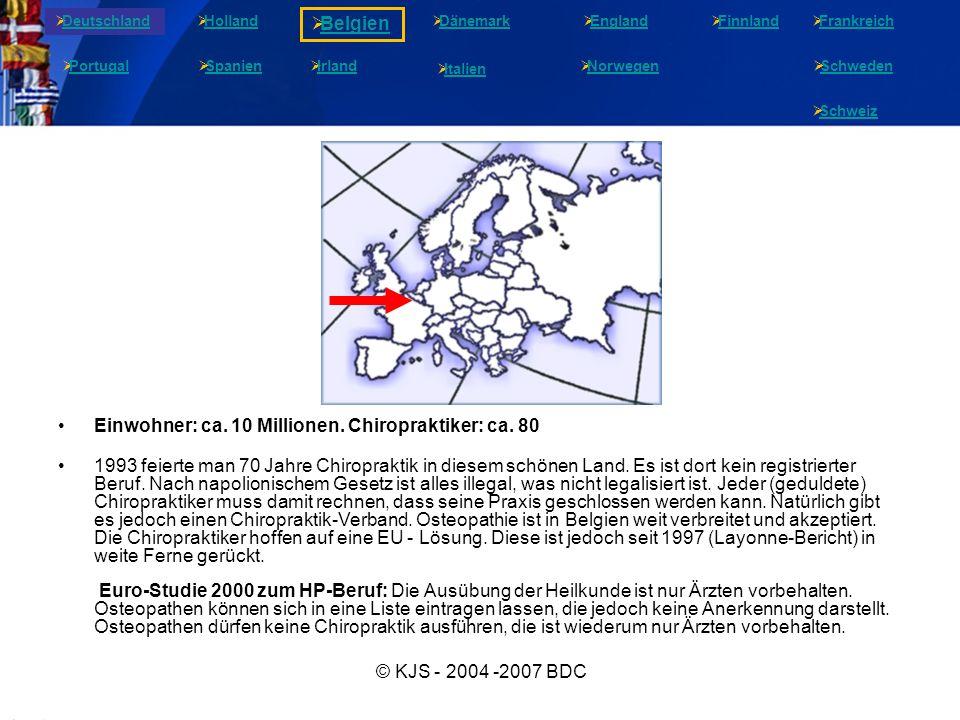 © KJS - 2004 -2007 BDC Einwohner: ca. 10 Millionen. Chiropraktiker: ca. 80 1993 feierte man 70 Jahre Chiropraktik in diesem schönen Land. Es ist dort