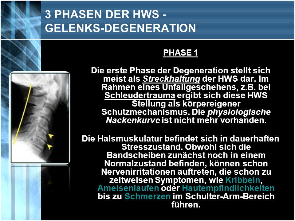 PHASE 1 Die erste Phase der Degeneration stellt sich meist als Streckhaltung der HWS dar. Im Rahmen eines Unfallgeschehens, z.B. bei Schleudertrauma e