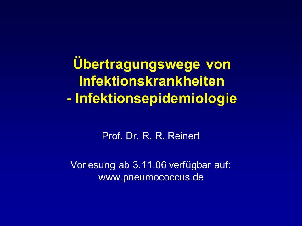 Übertragungswege von Infektionskrankheiten - Infektionsepidemiologie Prof. Dr. R. R. Reinert Vorlesung ab 3.11.06 verfügbar auf: www.pneumococcus.de