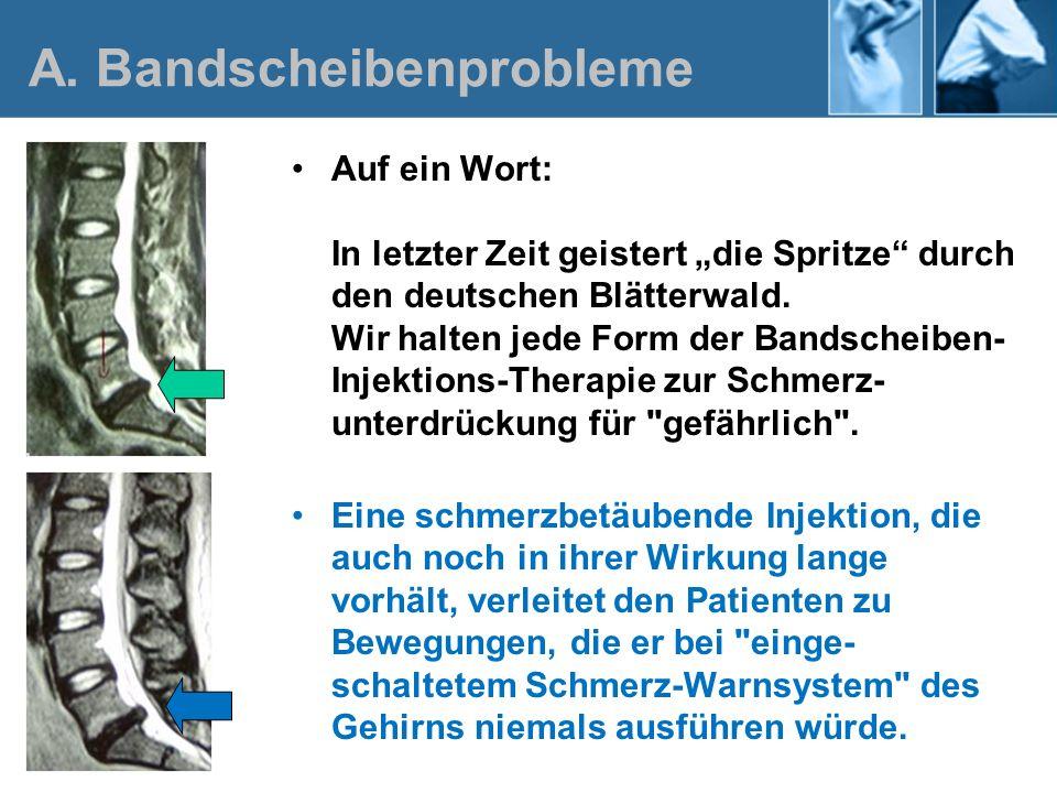 Auf ein Wort: In letzter Zeit geistert die Spritze durch den deutschen Blätterwald. Wir halten jede Form der Bandscheiben- Injektions-Therapie zur Sch