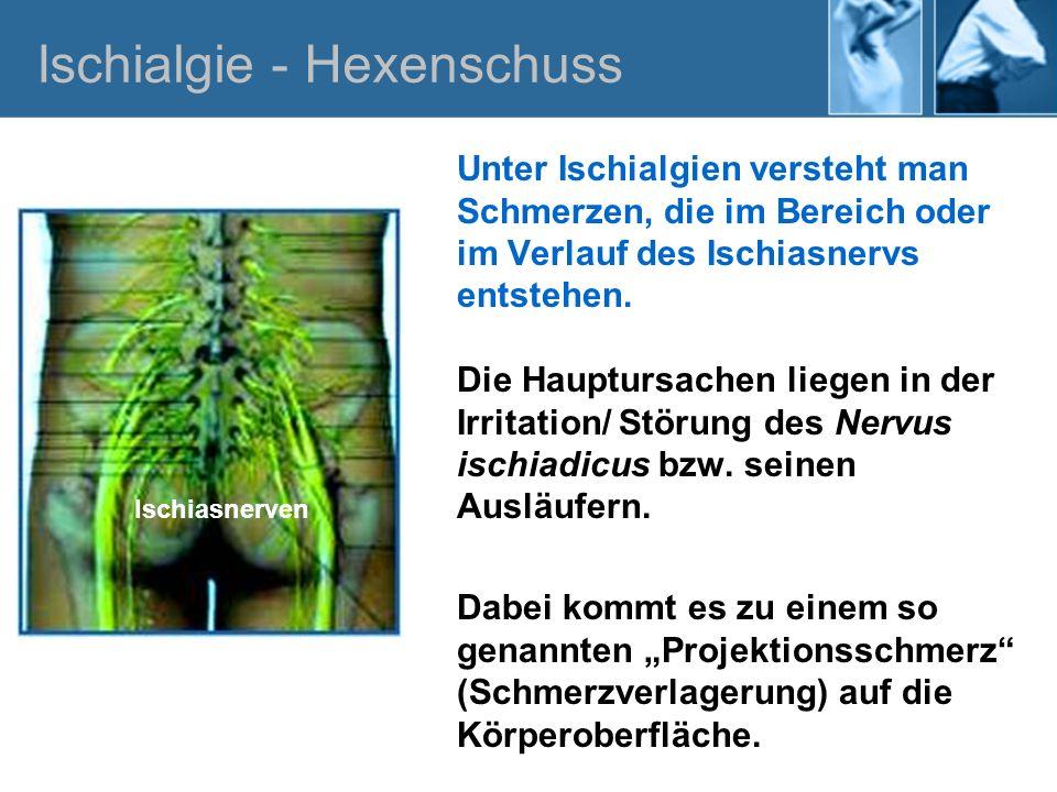 Ischias- / Neuralgie Eine echte Ischiasneuralgie zeichnet sich durch Periodische Schmerzattacken entlang des Nervenverlaufes aus.