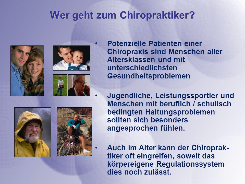 Potenzielle Patienten einer Chiropraxis sind Menschen aller Altersklassen und mit unterschiedlichsten Gesundheitsproblemen Jugendliche, Leistungssport