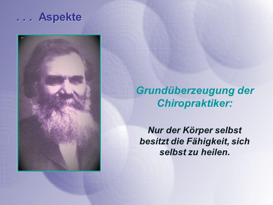 ... Aspekte Grundüberzeugung der Chiropraktiker: Nur der Körper selbst besitzt die Fähigkeit, sich selbst zu heilen.
