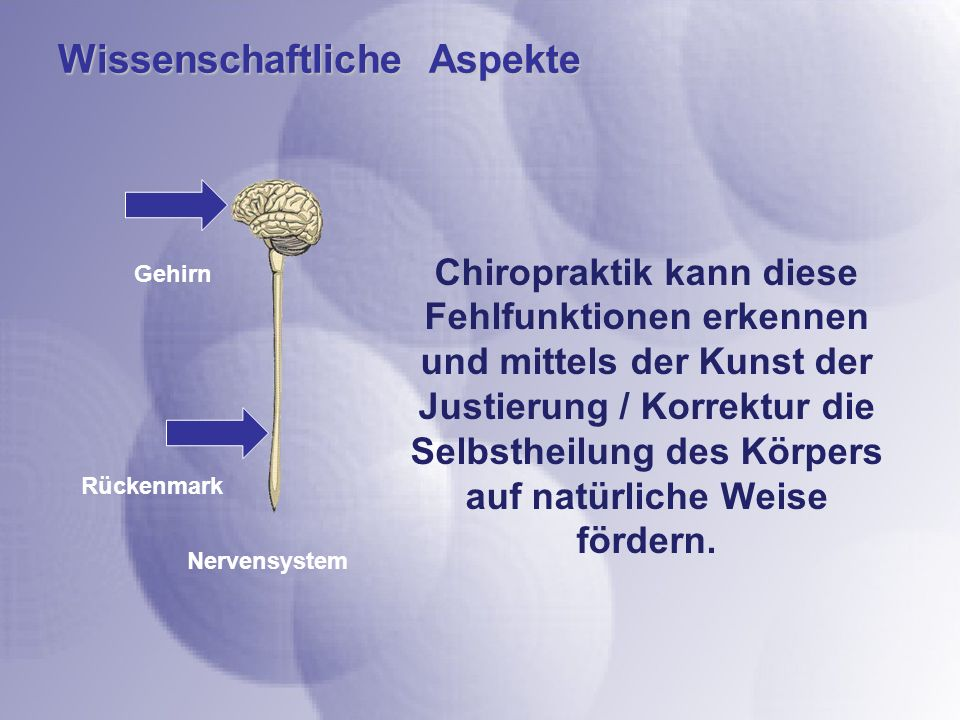 Wissenschaftliche Aspekte Gehirn Rückenmark Nervensystem Chiropraktik kann diese Fehlfunktionen erkennen und mittels der Kunst der Justierung / Korrektur die Selbstheilung des Körpers auf natürliche Weise fördern.