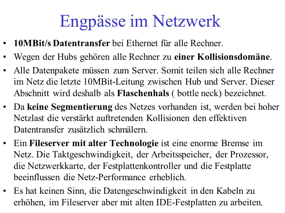 Netz mit einem Server und einer 10/100MBit-Quadro-Karte Internet Router ISDN-Gateway Operatorplatz Abteilungsrechner Computerräume 10/100 MBit Switch ISDN redundant ausgelegte LWL-Kabel, 200Mbps- Vollduplexverbindungen 10Mbps-TP- Verkabelung