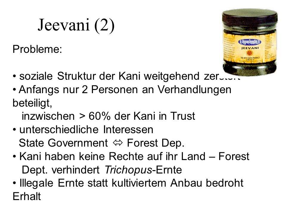 Jeevani (2) Probleme: soziale Struktur der Kani weitgehend zerstört Anfangs nur 2 Personen an Verhandlungen beteiligt, inzwischen > 60% der Kani in Trust unterschiedliche Interessen State Government Forest Dep.