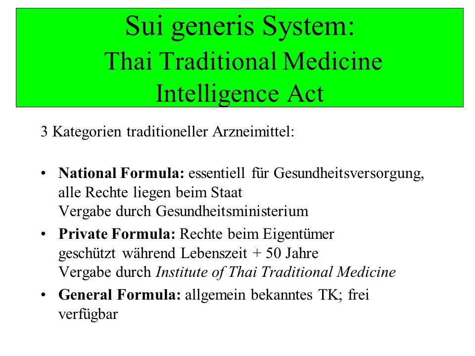 Sui generis System: Thai Traditional Medicine Intelligence Act 3 Kategorien traditioneller Arzneimittel: National Formula: essentiell für Gesundheitsv