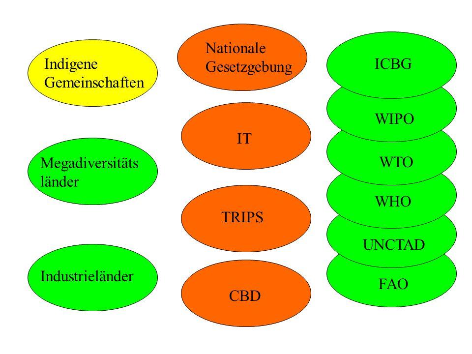 CBD IT TRIPS Indigene Gemeinschaften Industrieländer Megadiversitäts länder Nationale Gesetzgebung FAO UNCTAD WHO WIPO WTO ICBG