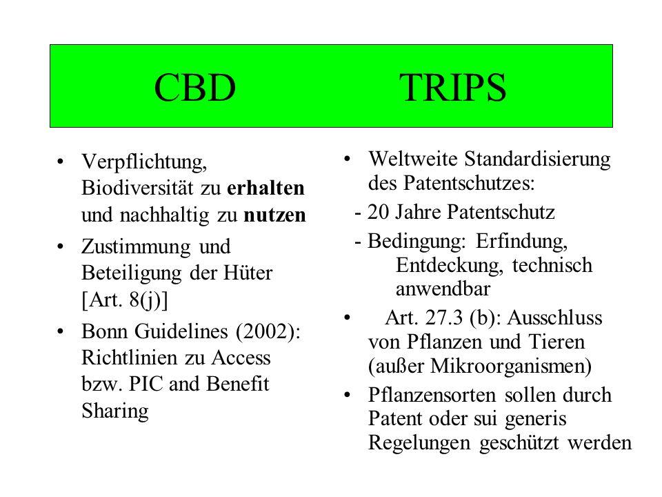 CBD TRIPS Verpflichtung, Biodiversität zu erhalten und nachhaltig zu nutzen Zustimmung und Beteiligung der Hüter [Art. 8(j)] Bonn Guidelines (2002): R