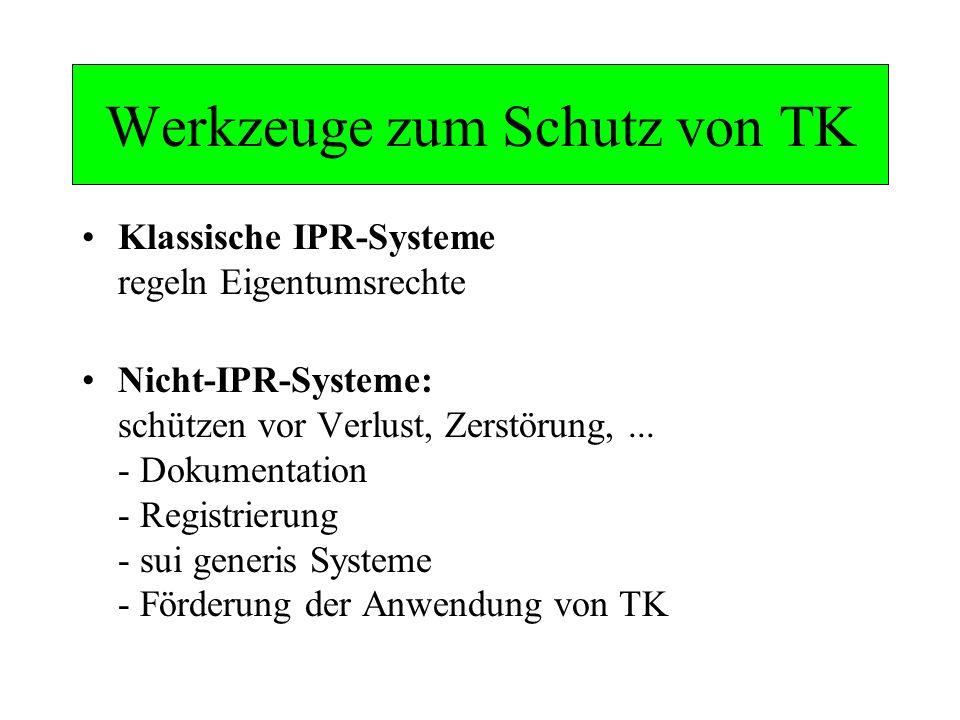 Werkzeuge zum Schutz von TK Klassische IPR-Systeme regeln Eigentumsrechte Nicht-IPR-Systeme: schützen vor Verlust, Zerstörung,... - Dokumentation - Re