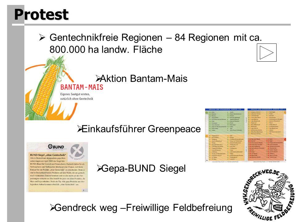 Protest Gentechnikfreie Regionen – 84 Regionen mit ca.