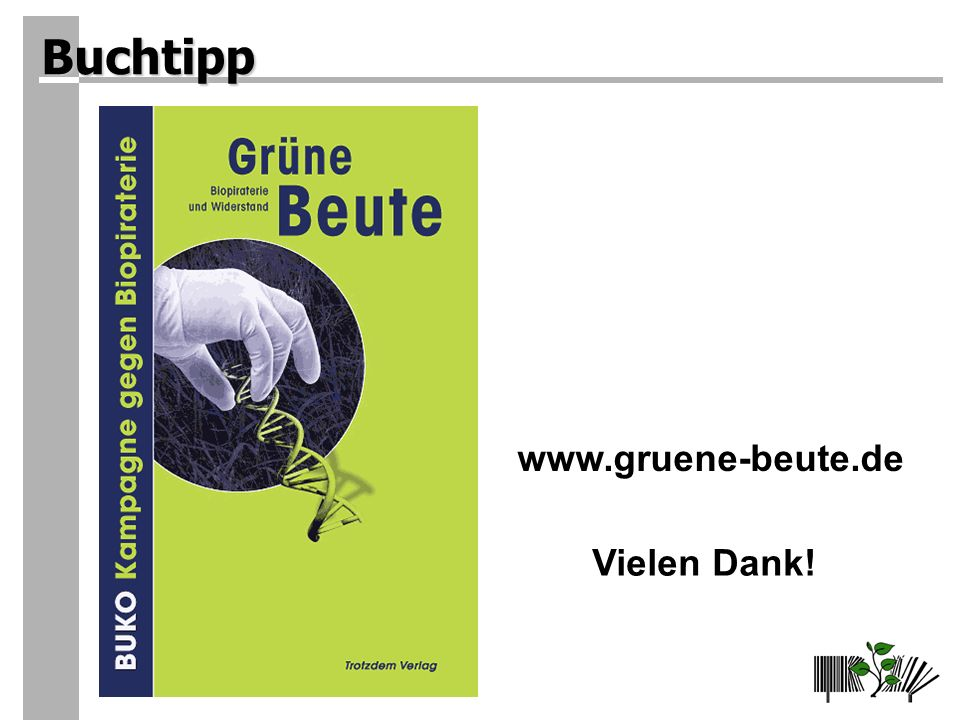 www.gruene-beute.de Vielen Dank! Buchtipp
