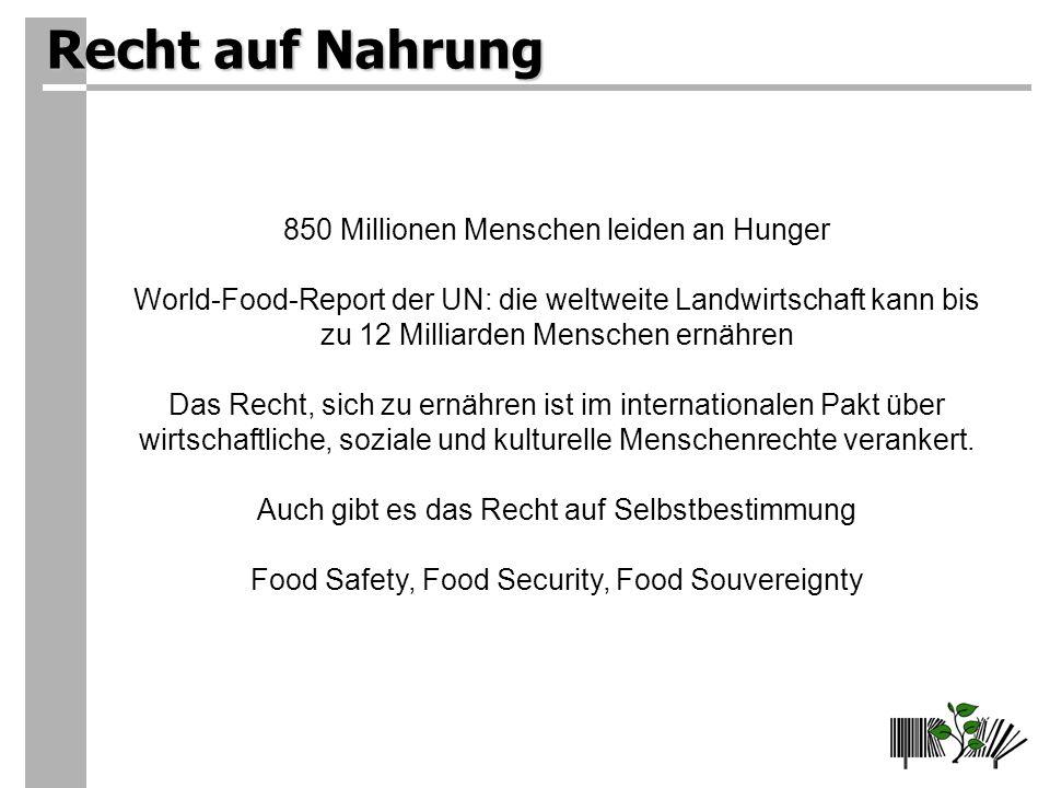 Recht auf Nahrung 850 Millionen Menschen leiden an Hunger World-Food-Report der UN: die weltweite Landwirtschaft kann bis zu 12 Milliarden Menschen ernähren Das Recht, sich zu ernähren ist im internationalen Pakt über wirtschaftliche, soziale und kulturelle Menschenrechte verankert.