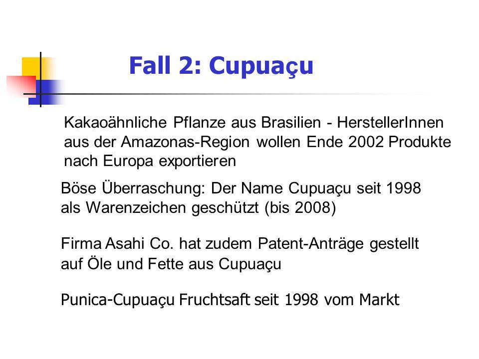 Fall 2: Cupua ç u Kakaoähnliche Pflanze aus Brasilien - HerstellerInnen aus der Amazonas-Region wollen Ende 2002 Produkte nach Europa exportieren Böse