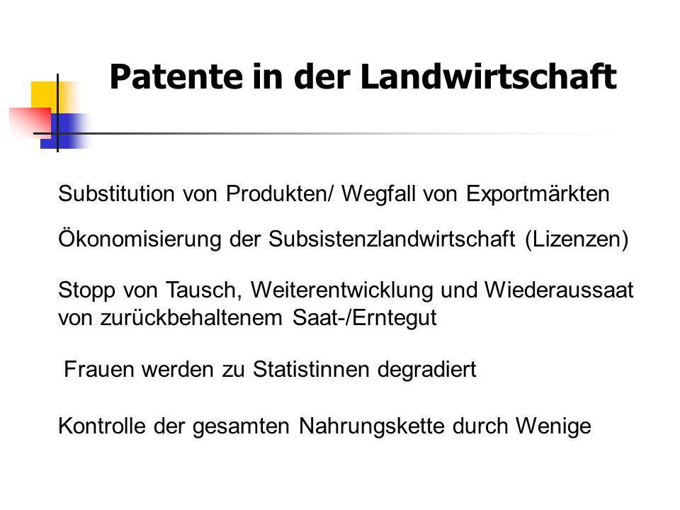 Patente in der Landwirtschaft Substitution von Produkten/ Wegfall von Exportmärkten Ökonomisierung der Subsistenzlandwirtschaft (Lizenzen) Stopp von T