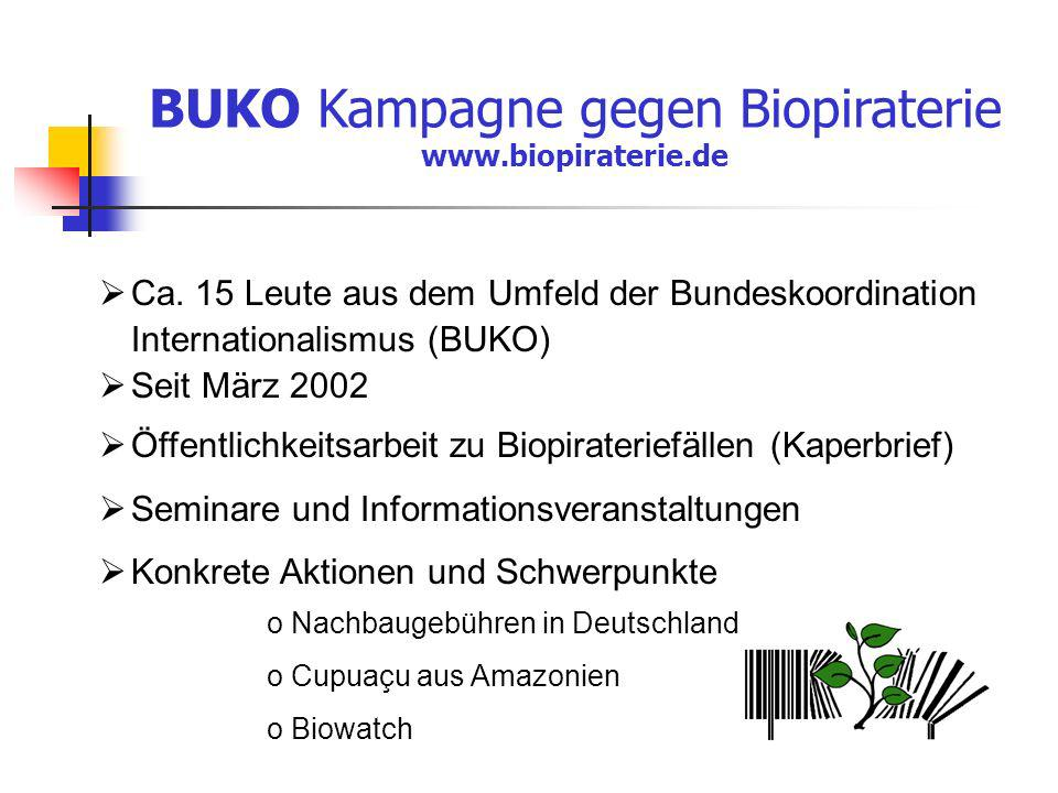 BUKO Kampagne gegen Biopiraterie www.biopiraterie.de Ca. 15 Leute aus dem Umfeld der Bundeskoordination Internationalismus (BUKO) Seit März 2002 Öffen