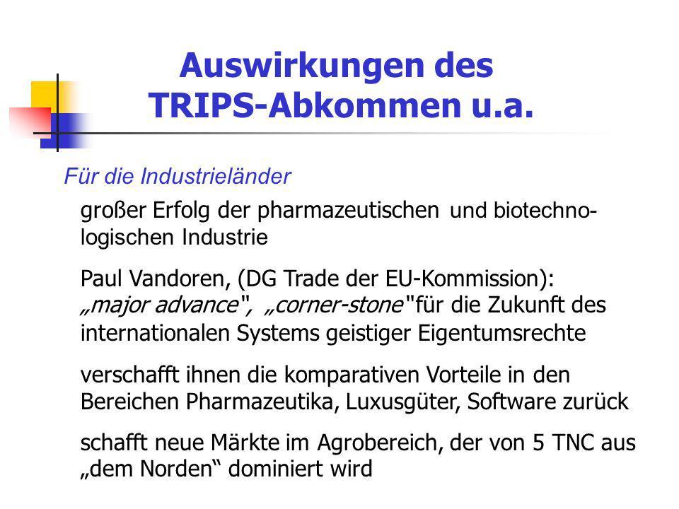 Auswirkungen des TRIPS-Abkommen u.a. Für die Industrieländer großer Erfolg der pharmazeutischen und biotechno- logischen Industrie Paul Vandoren, (DG