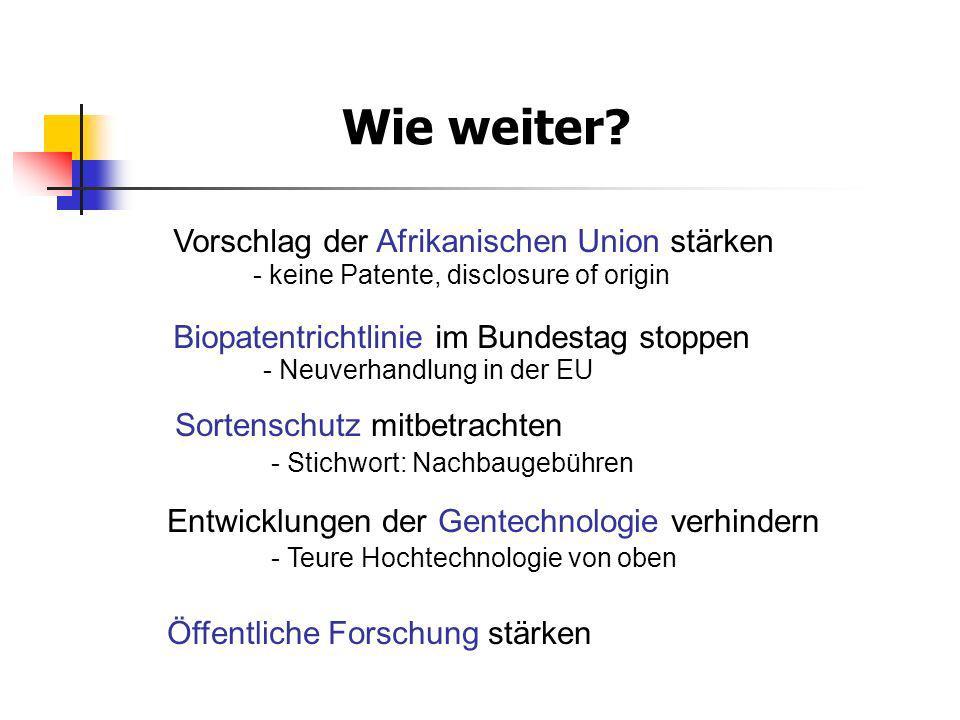 Wie weiter? Vorschlag der Afrikanischen Union stärken - keine Patente, disclosure of origin Biopatentrichtlinie im Bundestag stoppen - Neuverhandlung