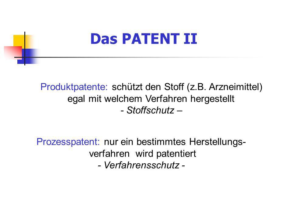 Das PATENT II Produktpatente: schützt den Stoff (z.B. Arzneimittel) egal mit welchem Verfahren hergestellt - Stoffschutz – Prozesspatent: nur ein best