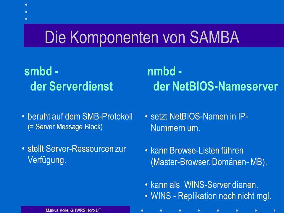 Markus Kölle, GHWRS Horb-UT Die Komponenten von SAMBA smbd - der Serverdienst nmbd - der NetBIOS-Nameserver beruht auf dem SMB-Protokoll (= Server Message Block) stellt Server-Ressourcen zur Verfügung.