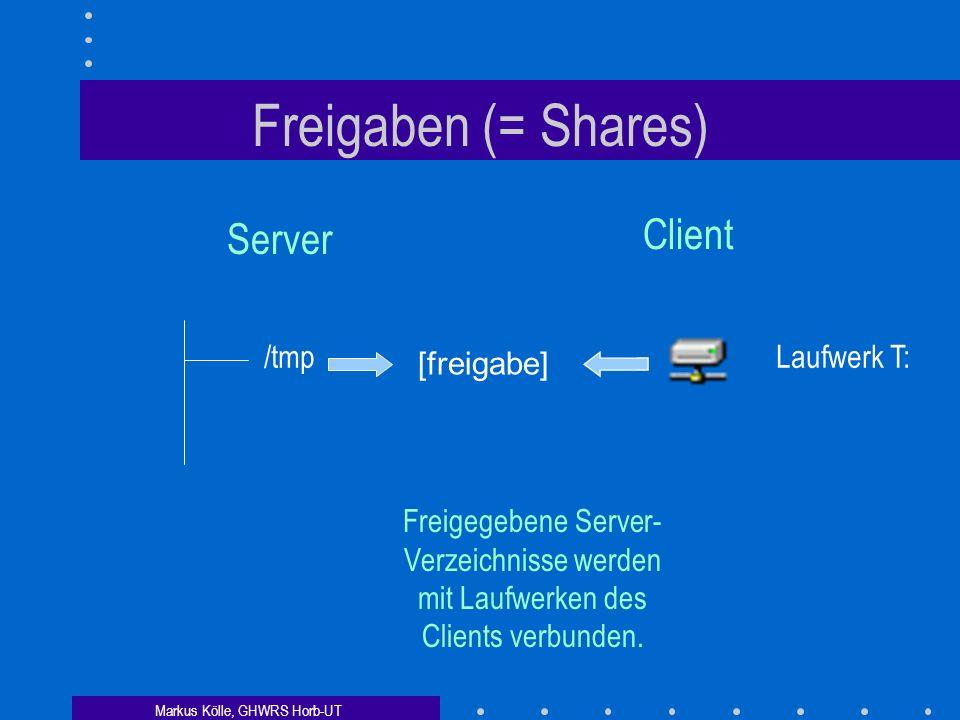 Markus Kölle, GHWRS Horb-UT Freigaben (= Shares) Server Client /tmp Laufwerk T: Freigegebene Server- Verzeichnisse werden mit Laufwerken des Clients verbunden.