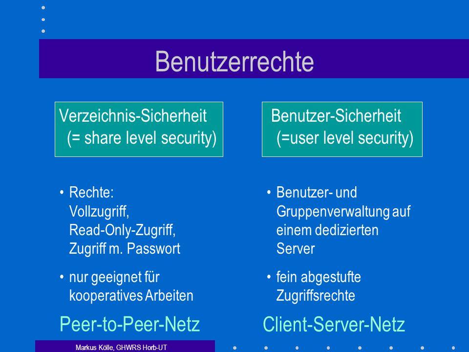 Markus Kölle, GHWRS Horb-UT Benutzerrechte Verzeichnis-Sicherheit (= share level security) Benutzer-Sicherheit (=user level security) Rechte: Vollzugriff, Read-Only-Zugriff, Zugriff m.