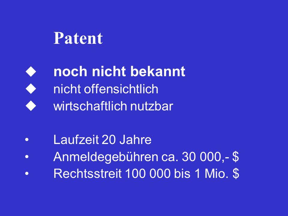 Patent noch nicht bekannt nicht offensichtlich wirtschaftlich nutzbar Laufzeit 20 Jahre Anmeldegebühren ca. 30 000,- $ Rechtsstreit 100 000 bis 1 Mio.