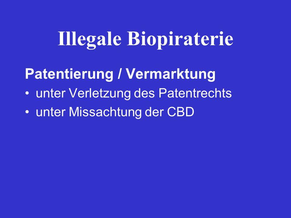 Illegale Biopiraterie Patentierung / Vermarktung unter Verletzung des Patentrechts unter Missachtung der CBD
