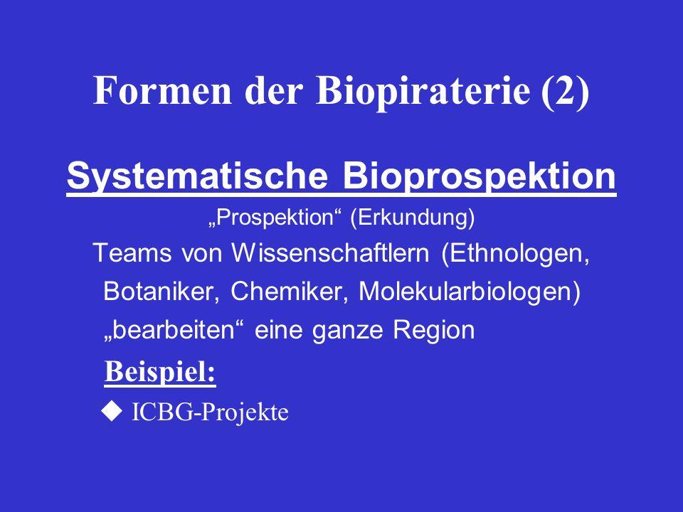 Formen der Biopiraterie (2) Systematische Bioprospektion Prospektion (Erkundung) Teams von Wissenschaftlern (Ethnologen, Botaniker, Chemiker, Molekula