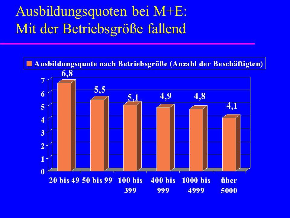 Ausbildungsquoten bei M+E: Mit der Betriebsgröße fallend