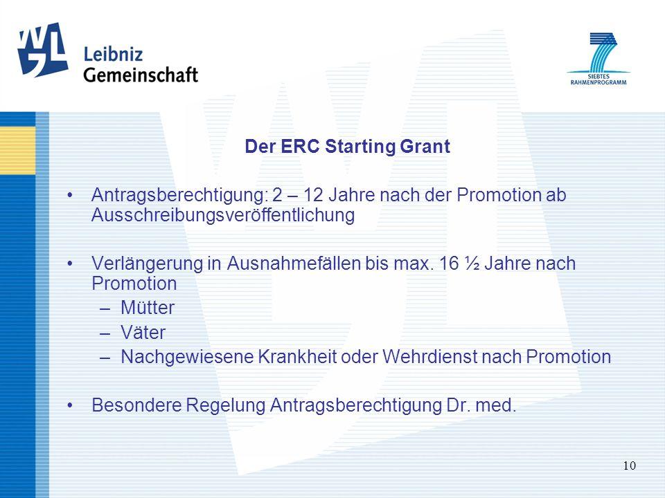 10 Der ERC Starting Grant Antragsberechtigung: 2 – 12 Jahre nach der Promotion ab Ausschreibungsveröffentlichung Verlängerung in Ausnahmefällen bis ma