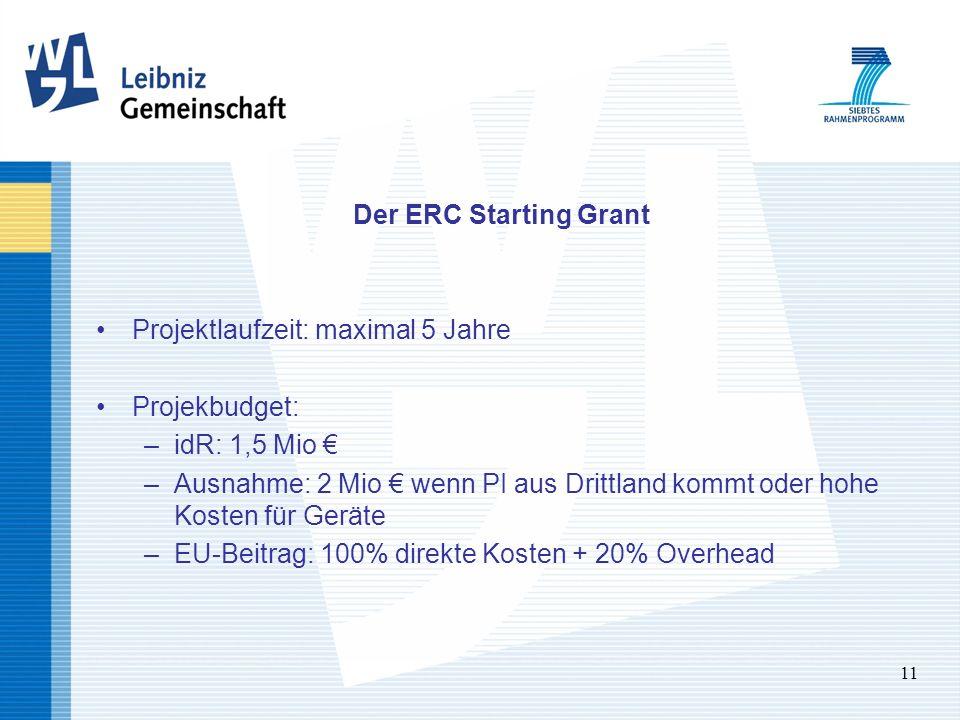 11 Der ERC Starting Grant Projektlaufzeit: maximal 5 Jahre Projekbudget: –idR: 1,5 Mio –Ausnahme: 2 Mio wenn PI aus Drittland kommt oder hohe Kosten für Geräte –EU-Beitrag: 100% direkte Kosten + 20% Overhead