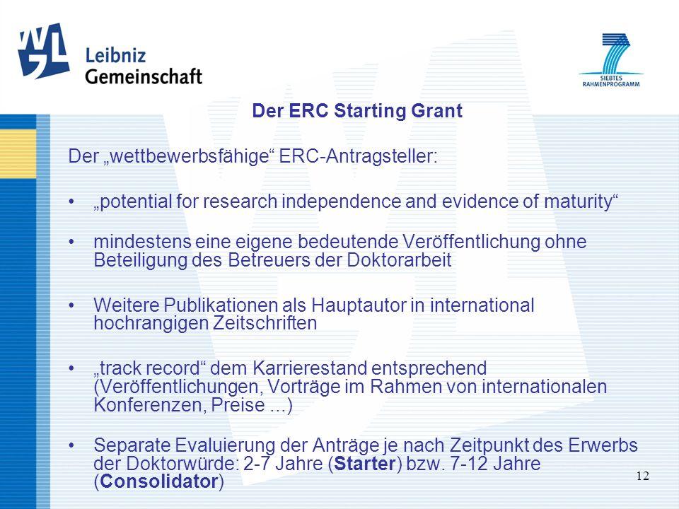 12 Der ERC Starting Grant Der wettbewerbsfähige ERC-Antragsteller: potential for research independence and evidence of maturity mindestens eine eigene