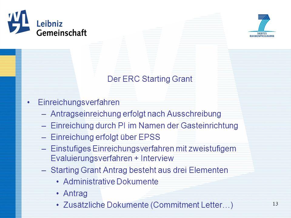 13 Der ERC Starting Grant Einreichungsverfahren –Antragseinreichung erfolgt nach Ausschreibung –Einreichung durch PI im Namen der Gasteinrichtung –Ein