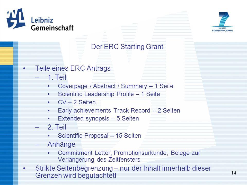14 Der ERC Starting Grant Teile eines ERC Antrags –1. Teil Coverpage / Abstract / Summary – 1 Seite Scientific Leadership Profile – 1 Seite CV – 2 Sei