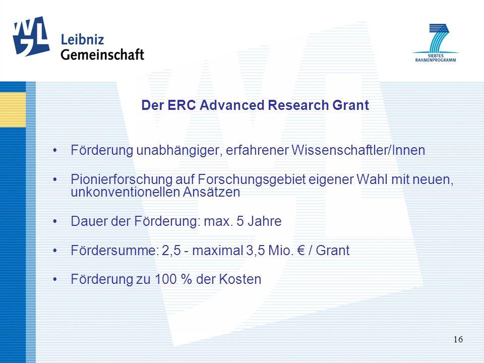 16 Der ERC Advanced Research Grant Förderung unabhängiger, erfahrener Wissenschaftler/Innen Pionierforschung auf Forschungsgebiet eigener Wahl mit neuen, unkonventionellen Ansätzen Dauer der Förderung: max.