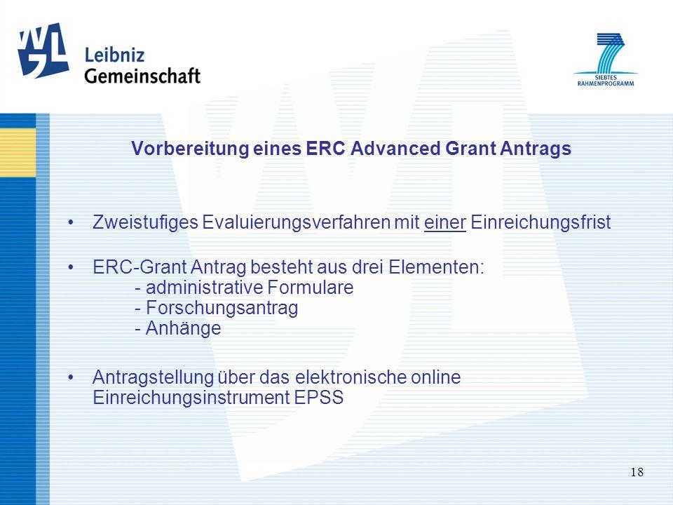 18 Vorbereitung eines ERC Advanced Grant Antrags Zweistufiges Evaluierungsverfahren mit einer Einreichungsfrist ERC-Grant Antrag besteht aus drei Elem
