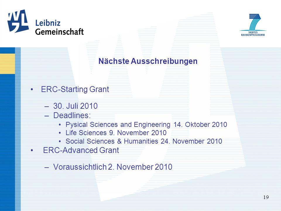 19 Nächste Ausschreibungen ERC-Starting Grant –30. Juli 2010 –Deadlines: Pysical Sciences and Engineering 14. Oktober 2010 Life Sciences 9. November 2
